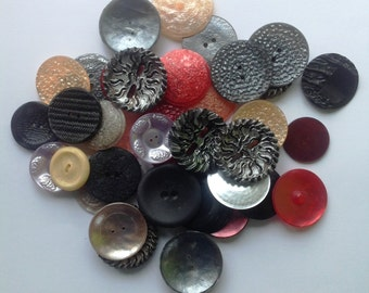 40 vintage large plastic buttons, destash, colored buttons, sewing supply, assorted big buttons, destash supply
