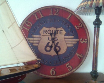 "Wall clock XXL, ""Route 66""."