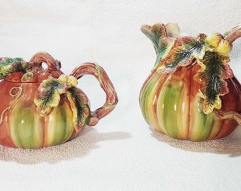 Spode Harvest Pumpkin Teapot and Pitcher Set!