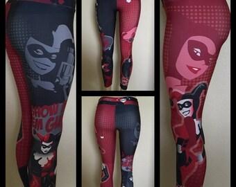 Harley Quinn Leggings, fitness leggings, women's leggings, workout, yoga pants, workout leggings, superhero, yoga leggings, print leggings