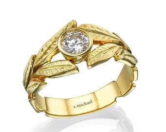Engagement ring, Leaves engagement ring, yellow gold ring, yellow diamond ring, Leaf ring, Leaves ring, Diamond solitaire ring, Diamond ring