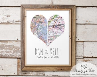 Customized Heart Map Art Printable, Double Map, DIGITAL Custom Personalized Printable, DIGITAL FILE Wedding decor, Marriage, love