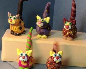 "Flower Power Felines, ""Yellow"" series cat miniatures"