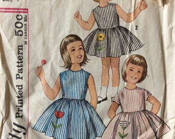 Simplicity 4878 vintage 1960's girls dress sewing pattern size 4