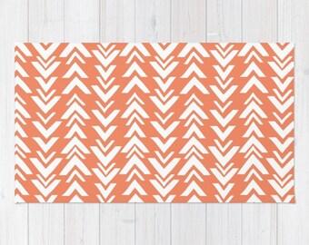 coral area rug 2x3 rug modern arrow print dorm room rug 3x5 rug 4x6 area rug