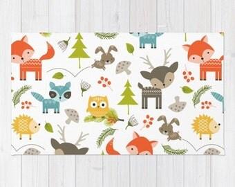 kids area rug woodland animals print rug kids bath mat 3x5 4x6 area rug nursery rug