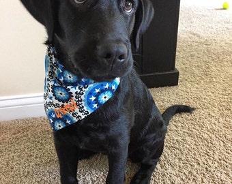 Personalized Dog Bandana Blues Black White Medallions || Add Pets Name || Geometric Bursts|| Classic Tie Dog Pupdana || Personalized Gift