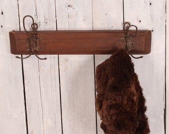 Vintage coat rack, Coat hooks, Vintage coat hook, Clothes hanger, Industrial cost hanger,  Wall coat rack, Metal and wood wall hanger