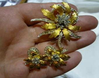 F63 Vintage Gold & Silver Tone with Clear Rhinestones Flower Brooch and Matching Clip-on Earrings.