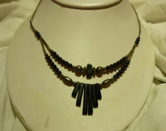 G1 Vintage Sterling Silver with Black Beads Necklace.