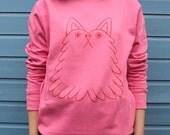 YUK FUN Fluff Buddy Jumper, Cat sweater, Dog jumper, cute sweatshirt, kawaii sweater, screen printed jumper, pink jumper, fairy kei