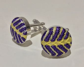 Yellow and Purple Herringbone Cufflinks - Handwoven Silver Plated