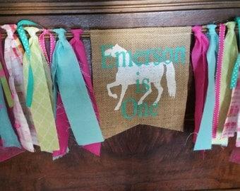 Horse Birthday Banner, Barnyard Banner, Farm Sign, Horse banner, Horse Birthday Decor, Horse Decorations, Pony Banner, Hot Pink Green
