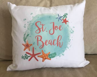 White Coral Pillow with Custom Name