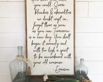 Made to Order Emerson quote wooden sign large