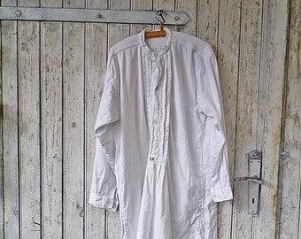 Weißes Nachthemd Herren Pyjama Vintage 1900 Mit Monogramm