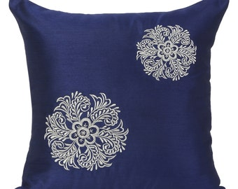 Dark Blue Decorative Pillow Cover Gold Floral Pillow Cover Blue Accent Pillow 14x14 16x16 18x18 20x20