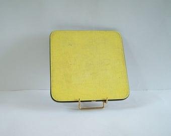 Yellow formica trivet vintage MCM trivet Made in France