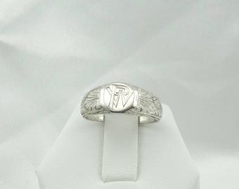"""1920's Era Vintage Hand Engraved """"PW"""" Signet Solid Sterling Silver Ring  Size 6 1/2 #PW-SR"""