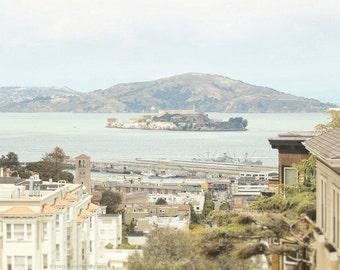 San Francisco Art, California Photo, Photography Print, Picture, Alcatraz Island, Russian Hill, Wall Art, Home Decor, 5 x 7, 8 x 10 Print