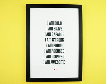 Empowering Affirmations Print A5 A4 | Inspirational Positive Typography | Wall Print | Gift Idea | Fierce, Courage, Inspire, Brave, Empower,