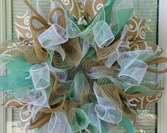 SALE Everyday Wreath, All Occasion Wreath, Country Wreath, Mint Green Wreath, Jute Wreath, Mesh Wreath, Ribbon Wreath