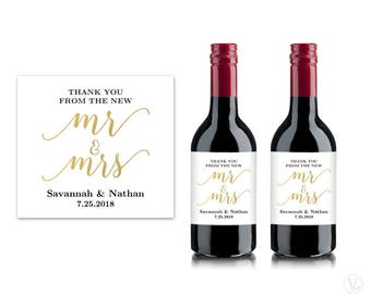 Mini Wine Bottle Labels, Printable Wine Bottle Label Template, Personalized and Editable, Mr & Mrs, VW10