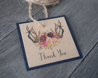 50 Rustic Bohemian Thank You Tags - Weddings, Engagement, Christening and Birthday Celebrations