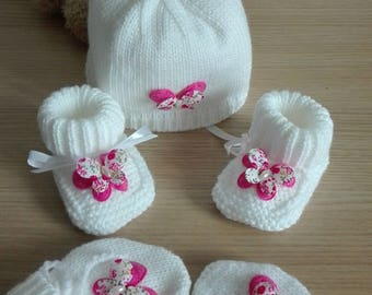 Hat booties mittens baby 0-3 months