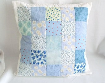 scatter cushion, throw accent pillow, patchwork cushion cover, quilted pillow slip, blue fabric, 16.5 x 16.5