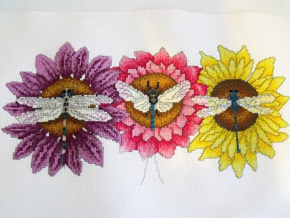 dragonflies cross stitch picture, flower counted cross stitch to frame, girls wall art, floral embroidered picture