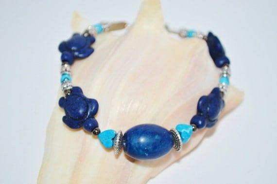 Bracelet or Anklet Sea Turtles, Dark Blue Stone & Sea Turtles with Silver Accent Bracelet, Blue Stone Anklet, Sea Turtle Anklet, Sea Turtles