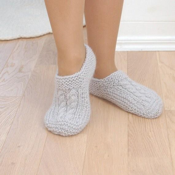 Wool Slipper Socks Gray Cable Knit Socks Gray Woolen Socks