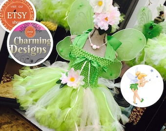 4 piece - TinkerBell pixie cut TuTu dress w Wings, Necklace & Flower hair clip -  Fairies - Pixie Hollow  by Charming Designs