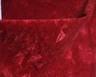 Vintage thick upholstery crinkled velvet - rusty red color excellent high quality velvet