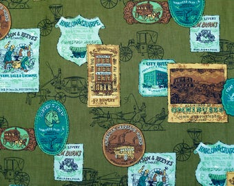 Olive green brown and seafoam green cotton horse and carriage buggy livery fabric - 60's novelty medallion print