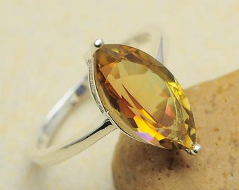 Gorgeous  Faceted Yellow Topaz in 925 Sterling Silver Ring Sz 6