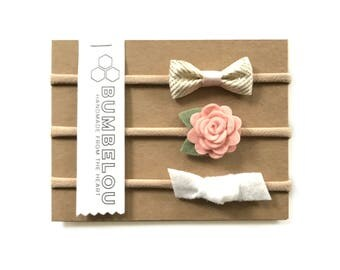 Bow and Petals 3 headband set - Blush and Ivory