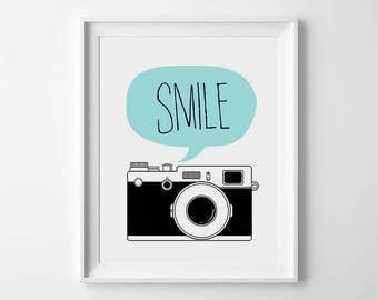 Smile, Printable wall art, Smile camera print, Smile print, Nursery wall art, Smile wall art, Camera poster, Printable nursery art