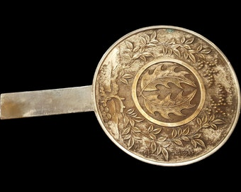 Antique Japanese 19c Bronze and Silver Metal Hand Mirror With Foliage