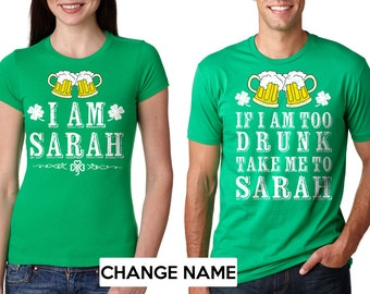 Custom Green T-shirts St. patrick's Day Tee shirts Customizable name Saint Patrick's Day tee shirts Men's T-shirt Women's fitted tee