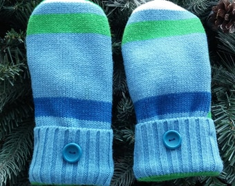 Recycled Sweater Mittens, Blue Striped Mittens, Blue and Green Sweater Mittens, Striped Sweater Mittens - RSM000144