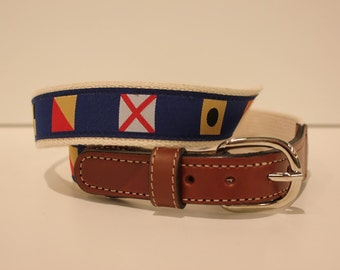 Nautical Flag  of a Belt-  Web Leather Belt
