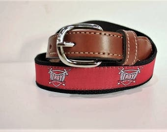 University of Troy Men's  Web Leather Belt