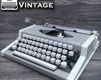 Serviced GREY & White Olympia Traveller Typewriter Working Black Ribbon