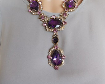 Stunning Purple and Crystal Jewelled Statement Necklace