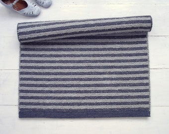 Grey Striped Rug, Cotton Rug, Scandinavian Rug, Kitchen Rug, Entryway Rug, Washable, Woven on the Loom, Made to Order
