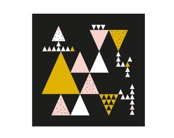 Graphic poster with triangles - black, pink and mustard yellow