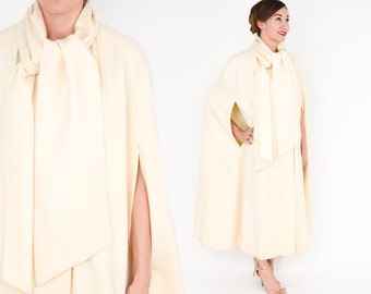 70s Wool Cape | Creme Ivory Long Merino Wool Cape | One Size