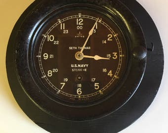 Seth Thomas WWII US Navy Warship Clock Working